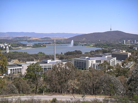 The Russell Offices complex in Canberra houses the Australian Defence Force administrative headquarters. The three military branches amalgamated into the ADF in 1976. Russell Offices.JPG