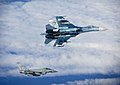 Russian SU-27 Flanker with RAF Typhoon MOD 45157730.jpg