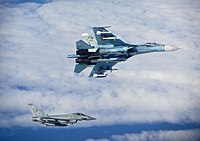 Russian SU-27 Flanker with RAF Typhoon MOD 45157730.jpg