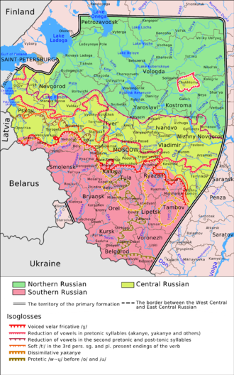 Russian dialects - Map of the Russian dialects of the primary formation (Northern is dark green, Central is yellow-green, Southern is red)