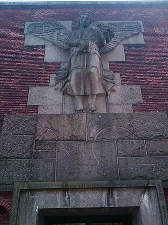 Søndermark Cemetery - Utzon-Frank's relief at the chapel front
