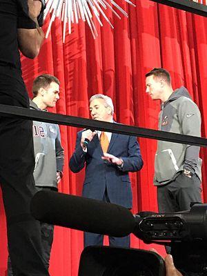 Minute Maid Park - ESPN's Sal Paolantonio talking to Tom Brady and Matt Ryan at Super Bowl LI Opening Night.