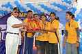 SBC and DSC team receiving a trophy from Vice Admiral Satish Soni during the Eastern Naval Command Olympiad 2015.JPG
