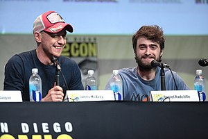 Victor Frankenstein (film) - James McAvoy and Daniel Radcliffe at the 2015 San Diego Comic-Con to promote the film.