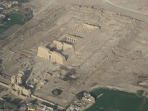 Medinet Habu (temple) - Mortuary Temple of Ramesses III, from the air on the East side. The long wall facing the camera is the Northeast wall.
