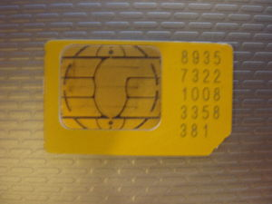 Subscriber identity module - A typical SIM card (mini-SIM)