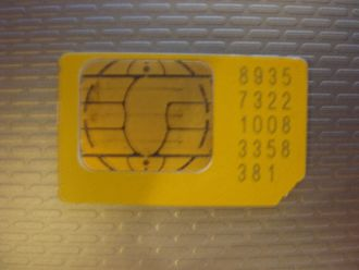 Subscriber identity module - A typical SIM card (mini-SIM)