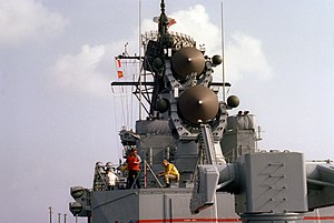 SPG-55 radars aboard USS Mahan (DDG-42) on 21 August 1983 (6429184).jpg