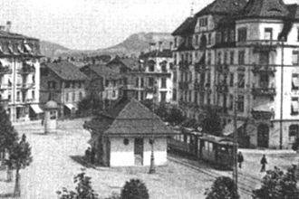 Trams in Bern - The Läbchueche-Hüsli station building in Breitenrainplatz at the start of the 20th century.
