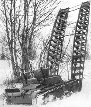 T-26 variants - ST-26 engineer tank with a cable system of bridge laying during tests. March 1933.