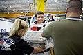 STS-130 training Behnken dons EMU 1.jpg