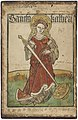 Saint Catherine of Alexandria woodcut with hand-colouring, circa 1470-80.jpg