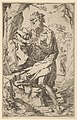 Saint Jerome kneeling on a rock in front of a cross and an open book facing left, after Reni MET DP837846.jpg