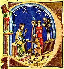 A miniature depicting a bearded bald man before an other bearded man who sits on a throne and wears a crown