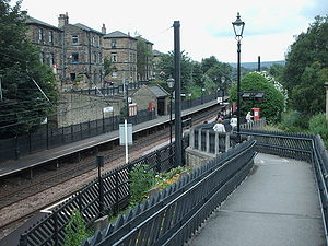 Saltaire railway station - Looking down the entrance ramp