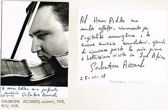 Salvatore Accardo - Image: Salvatore Accardo 1968 dedicated photo on first of his three Southern Africa tours