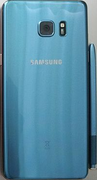 An image displaying a blue Samsung Galaxy Note 7.