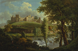 Ludlow Castle with Dinham Weir, from the South-West