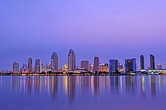 Largest cities in southern California - Image: San Diego Skyline at Dawn