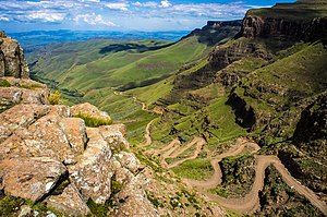 Mountain pass - Sani Pass in Lesotho.