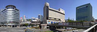 Sannomiya Station (JR West) - South Side of the Station (from the left, Kobe Kōtsū Center Building, Station Building, OPA, Kobe Shimbun Kaikan (M-INT Kobe)