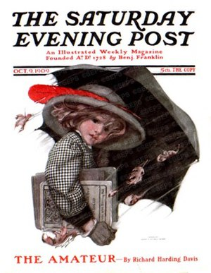 "Sarah Stilwell Weber - Sarah Stilwell Weber, ""Girl with Schoolbooks Walking in Rain with Umbrella"", The Saturday Evening Post, October 9, 1909"
