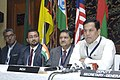 Sarbananda Sonowal briefing the media on the outcome of three-day Asia Region Commonwealth Youth Ministers Meeting after the concluding session, in New Delhi. The Secretary (Youth Affairs), Shri Rajeev Gupta is also seen.jpg
