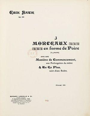 Trois morceaux en forme de poire - Cover for the original edition of Satie's Trois morceaux en forme de poire (1911)