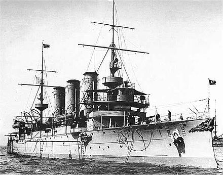 Ottoman cruiser Hamidiye. Its exploits during its eight-month cruise through the Mediterranean were a major morale booster for the Ottomans. Savuranoglu hamidiye.jpg