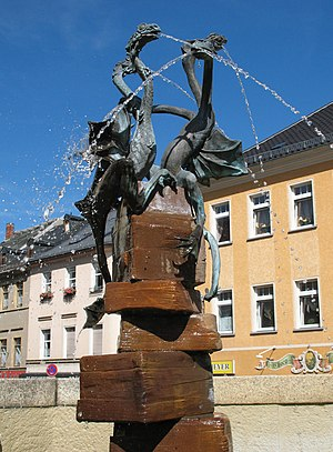 Schleiz - Dragon fountain