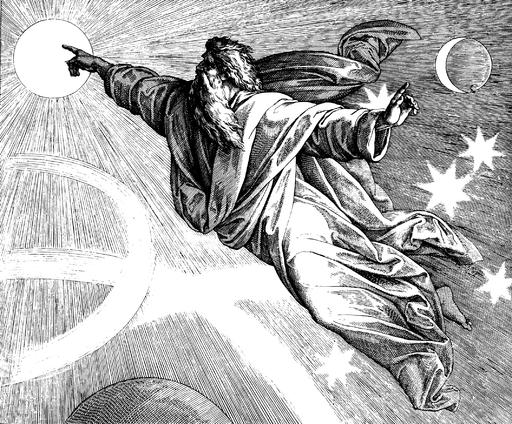 Schnorr von Carolsfeld Biblii w obrazach, 1860. Czwarty dzień, Bóg oddziela dzień od nocy i kładzie światła na niebiosach.