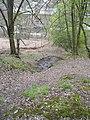 Schwelm, Hang des rechten Wupperufers oberhalb Beyenburger Str. 77 (im Hintergrund), Austritt von Wasser der Bergfallmulde auf der anderen Wegseite.jpg