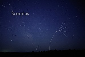 Scorpius - The constellation Scorpius as it can be seen by naked eye (with constellation lines drawn in).