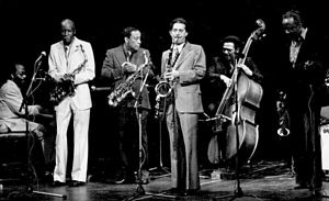 "Scott Hamilton (musician) - From left to right : Junior Mance, Eddie ""Cleanhead"" Vinson, Lou Donaldson, Scott Hamilton, Martin Rivera and Harry ""Sweets"" Edison in May 1980"