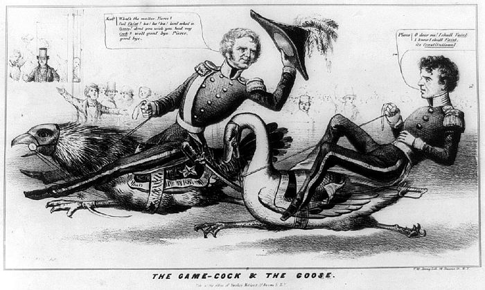 This anti-Pierce political cartoon depicts him as weak and cowardly