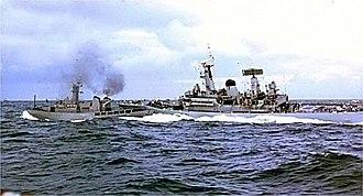 HMS Scylla (F71) - HMS Scylla (right) and Icelandic Coast Guard Vessel ''Odinn'' collide, during the Second Cod War