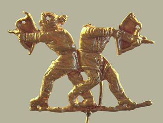 Scythians - Scythian archers shooting with the Scythian bow, Kerch (ancient Panticapeum), Crimea, 4th century BC. The Scythians were skilled archers, and their style of archery influenced that of the Persians and subsequently other nations, including the Greeks.