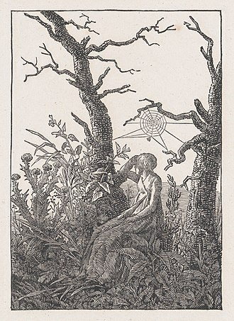 The Woman with the Spider's Web - Woodcut on ivory wove paper after Caspar David Friedrich's The woman with the Spider's Web