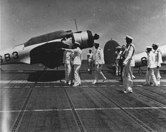 James O. Richardson - Image: Sec Nav Frank Knox on USS Enterprise (CV 6) c 1940