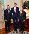 Secretary Kerry, Ambassadors Goldberg and Cuisia Pose for a Photo at Ambassador Goldberg's Swearing-In Ceremony (10979150914).jpg