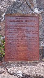 Commemorative plaque for Alexander Selkirk at Selkirk's prospect on Robinson Crusoe Island