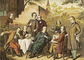 Der Seracher Dichterkreis im Kernerhaus, kolorierter Stich nach einem Ölgemälde von Heinrich von Rustige (Quelle: Wikimedia)