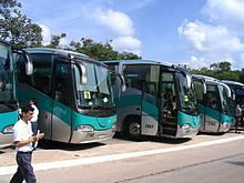 Several coaches parked at Chichen Itza, Mexico.
