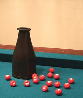 Kelly pool game played on a billiards table