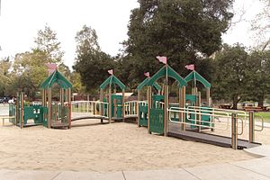 Shane's Inspiration - Griffith Park playground equipment with a castle theme
