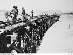 Shellal, Palestine. 1917-08. A bridge across the Wady Ghuzze being constructed by Australian and British Army Engineers.jpg