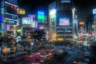 "Cyberpunk - Shibuya, Tokyo. Of Japan's influence on the genre, William Gibson said, ""modern Japan simply was cyberpunk."""