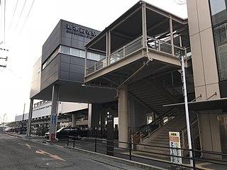 Shin-Suizenji Station railway station and tram station in Kumamoto, Kumamoto prefecture, Japan