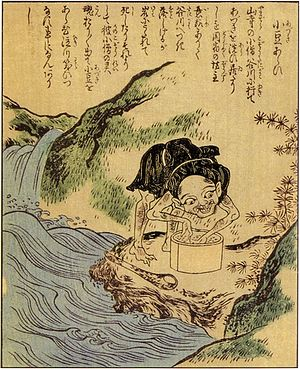 Azukiarai - The azukiarai as depicted in Takehara Shunsen's Ehon Hyaku Monogatari.