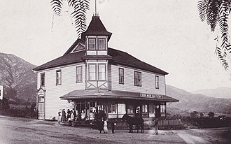 Old North Church (Sierra Madre, California) - Original 1895 Sierra Madre Town Hall (with Cigar Factory next door) at Baldwin and Central Ave (now a gas station) . Sierra Madre Congregational Church temporary meeting place.